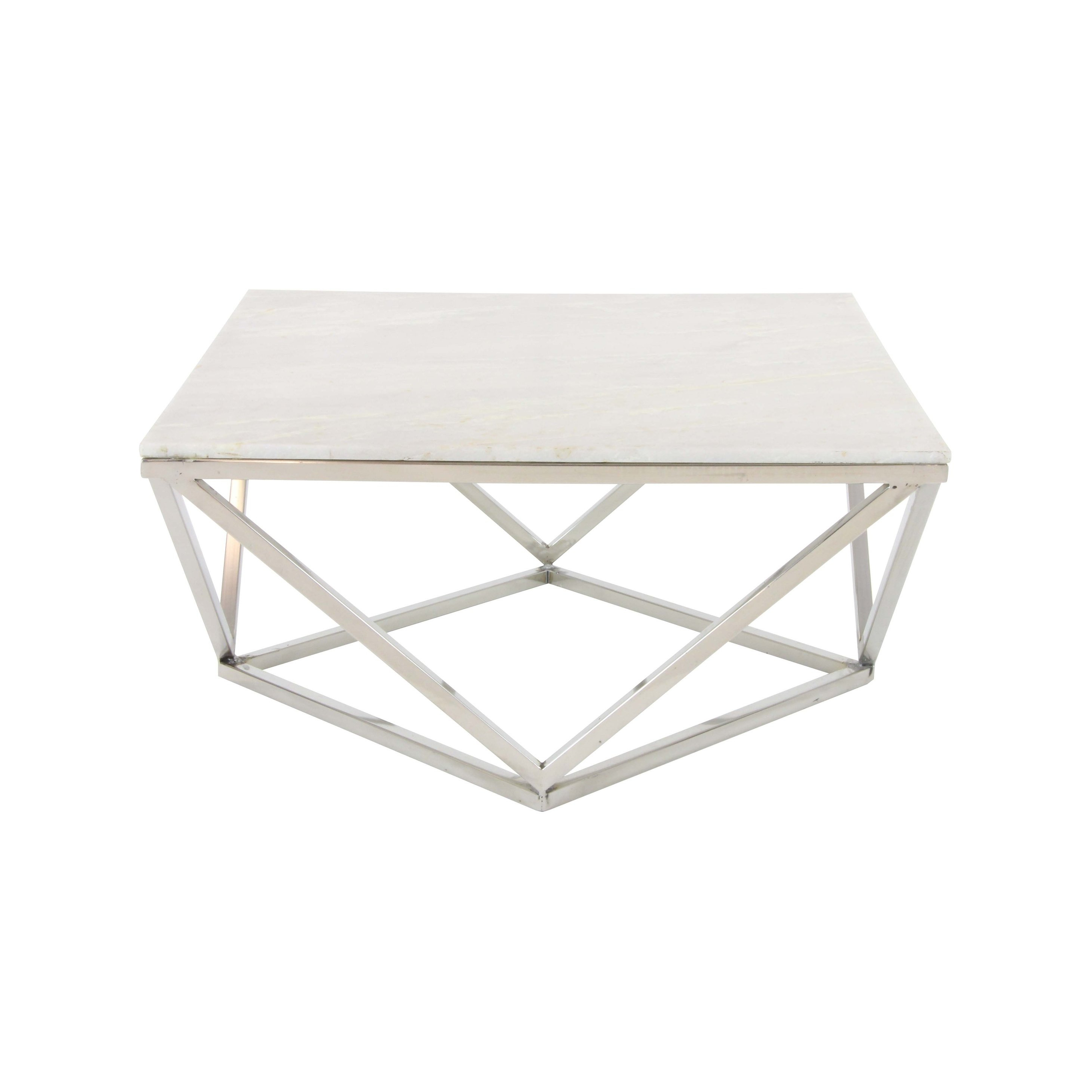 """Most Popular Shop 29"""" Modern Geometric Marble And Metal Coffee Tablestudio Intended For Modern Marble Iron Coffee Tables (Gallery 8 of 20)"""