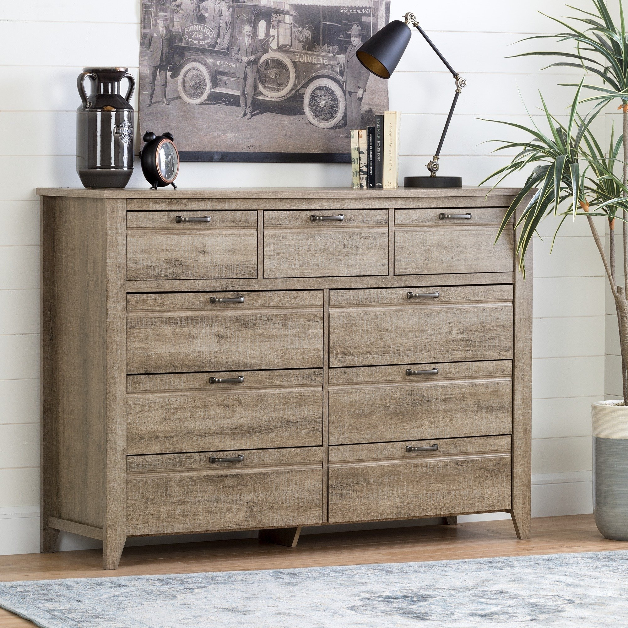 Most Popular Shop South Shore Lionel Sideboard, Weathered Oak – Free Shipping In Natural South Pine Sideboards (View 14 of 20)