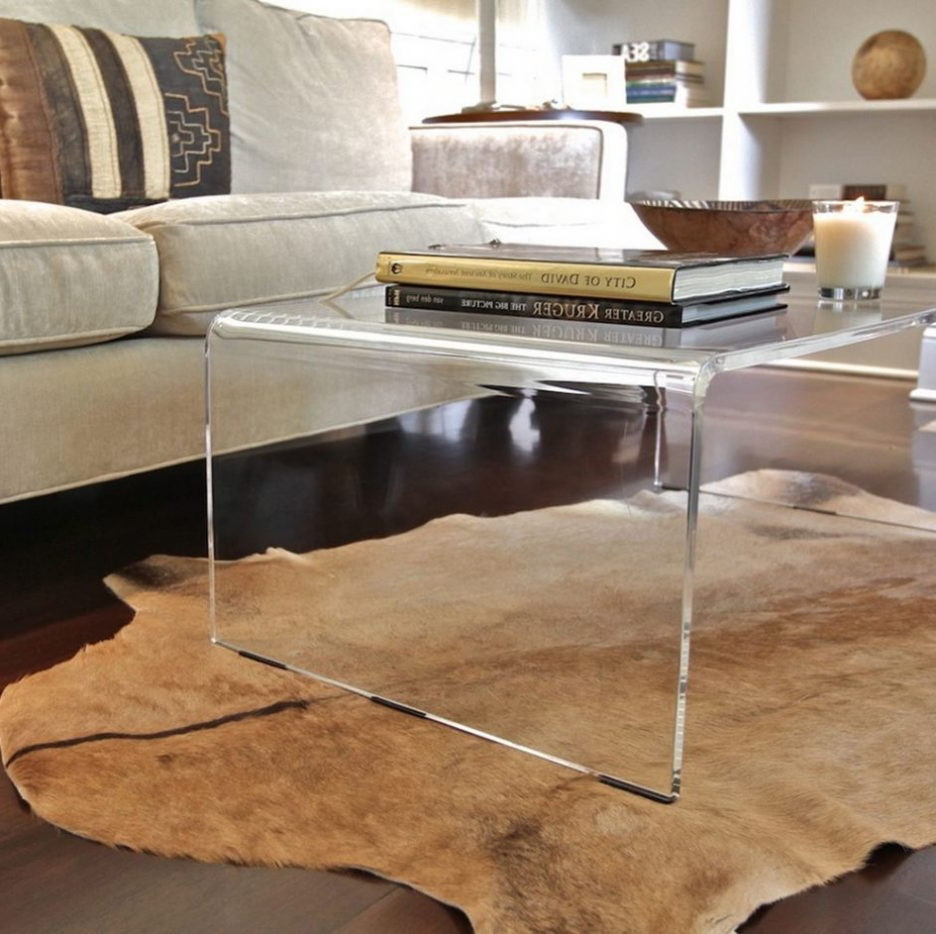 Most Popular Small Glass Cocktail Table Acrylic Living Room Furniture Distressed Pertaining To Square Waterfall Coffee Tables (View 10 of 20)