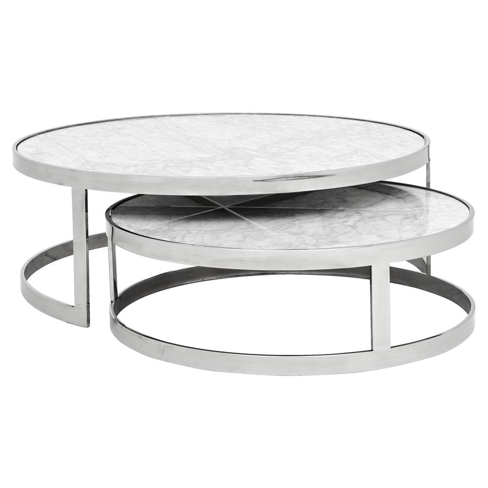 Most Popular Smart Large Round Marble Top Coffee Tables With Regard To Eichholtz Fletcher Modern Classic White Marble Top Round Nesting (View 8 of 20)