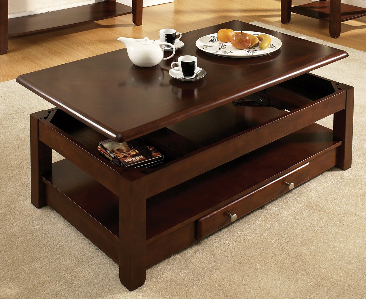 Most Popular Steve Silver Nelson 48x26 Lift Top Cocktail Table In Dark Cherry Regarding Logan Cocktail Tables (View 4 of 20)