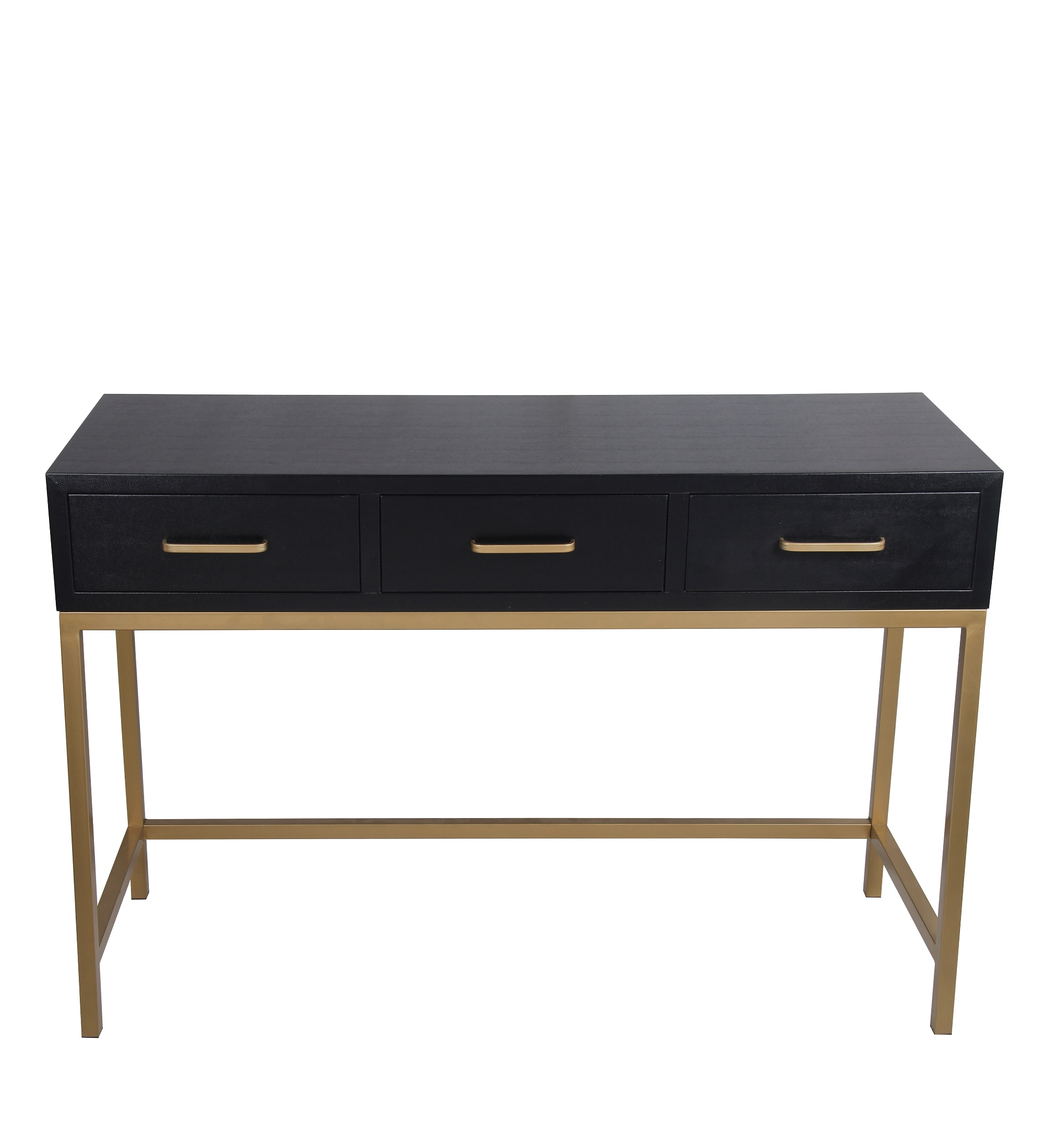 Most Popular Zeckos: Privilege 68206 3 Drawer Console Table – Black Shagreen Throughout Marbled Axton Sideboards (View 7 of 20)