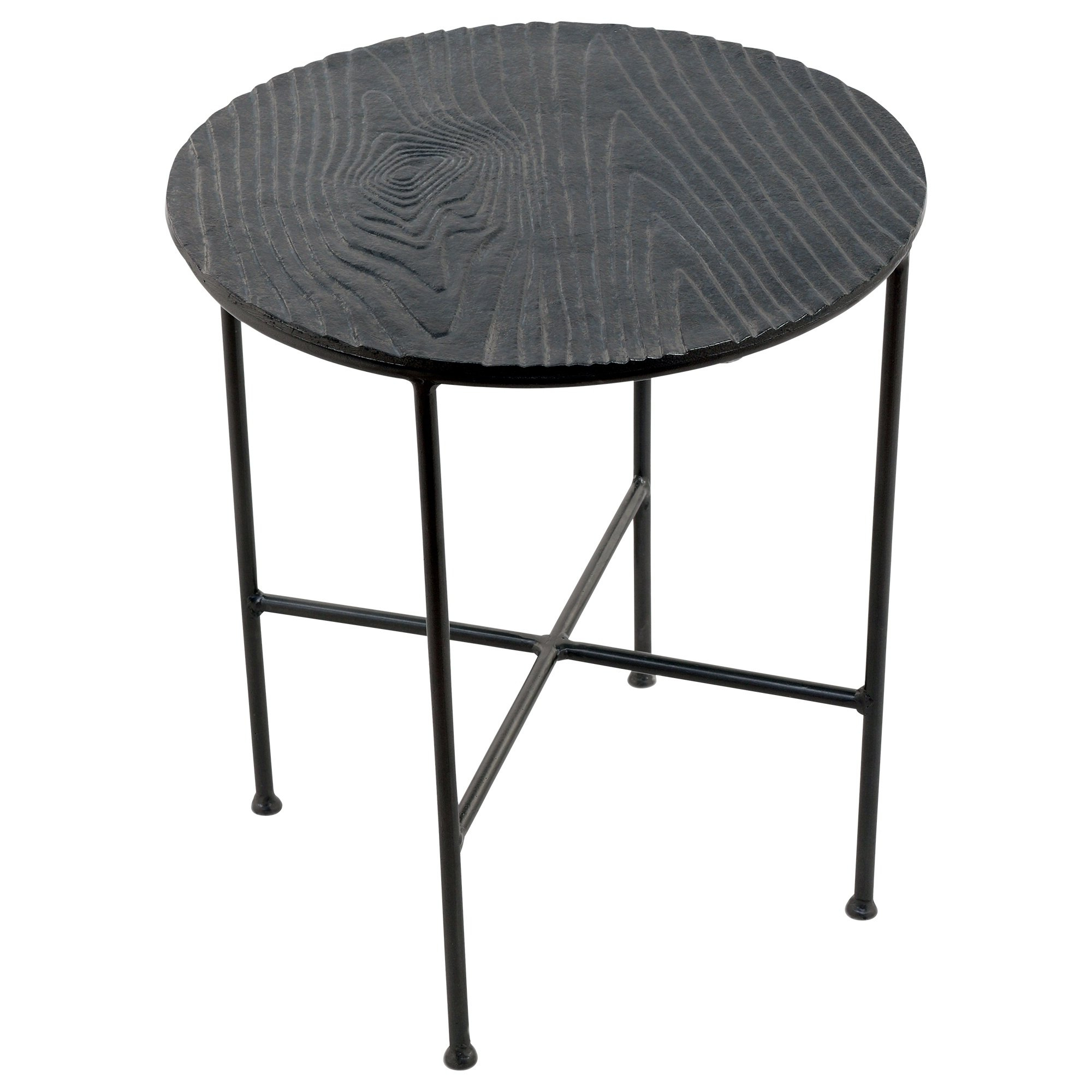 Most Recent Bale Rustic Grey Round Cocktail Tables With Storage Regarding Shop Renwil Bale Grey Aluminum Round Accent Table – Free Shipping (View 10 of 20)