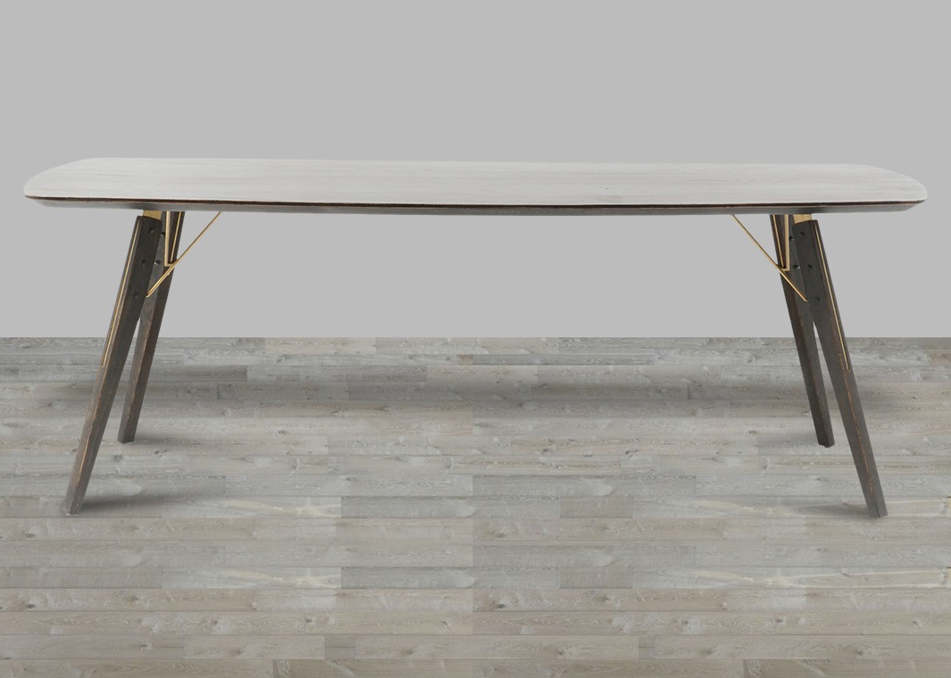 Most Recent Burnt Oak Bleached Pine Sideboards Pertaining To Burnt Oak/polished Brass Thoreau Dining Table – Silver Coast Company (View 16 of 20)