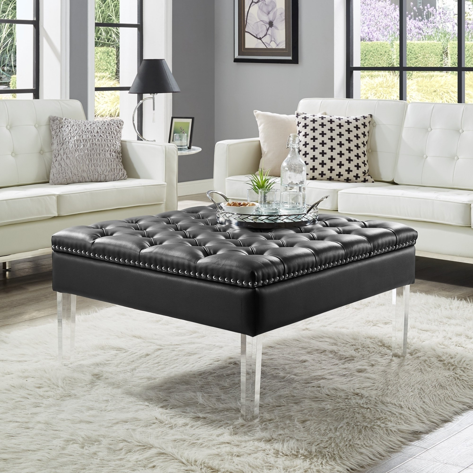 Most Recent Button Tufted Coffee Tables Within Shop Vivian Leather Oversized Button Tufted Ottoman Coffee Table (View 11 of 20)