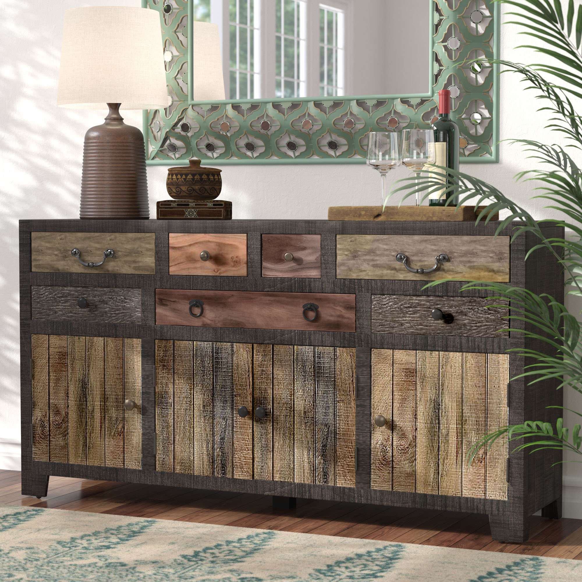 Most Recent Carved 4 Door Metal Frame Sideboards Within World Menagerie Moultry 7 Drawer 4 Door Sideboard & Reviews (View 12 of 20)