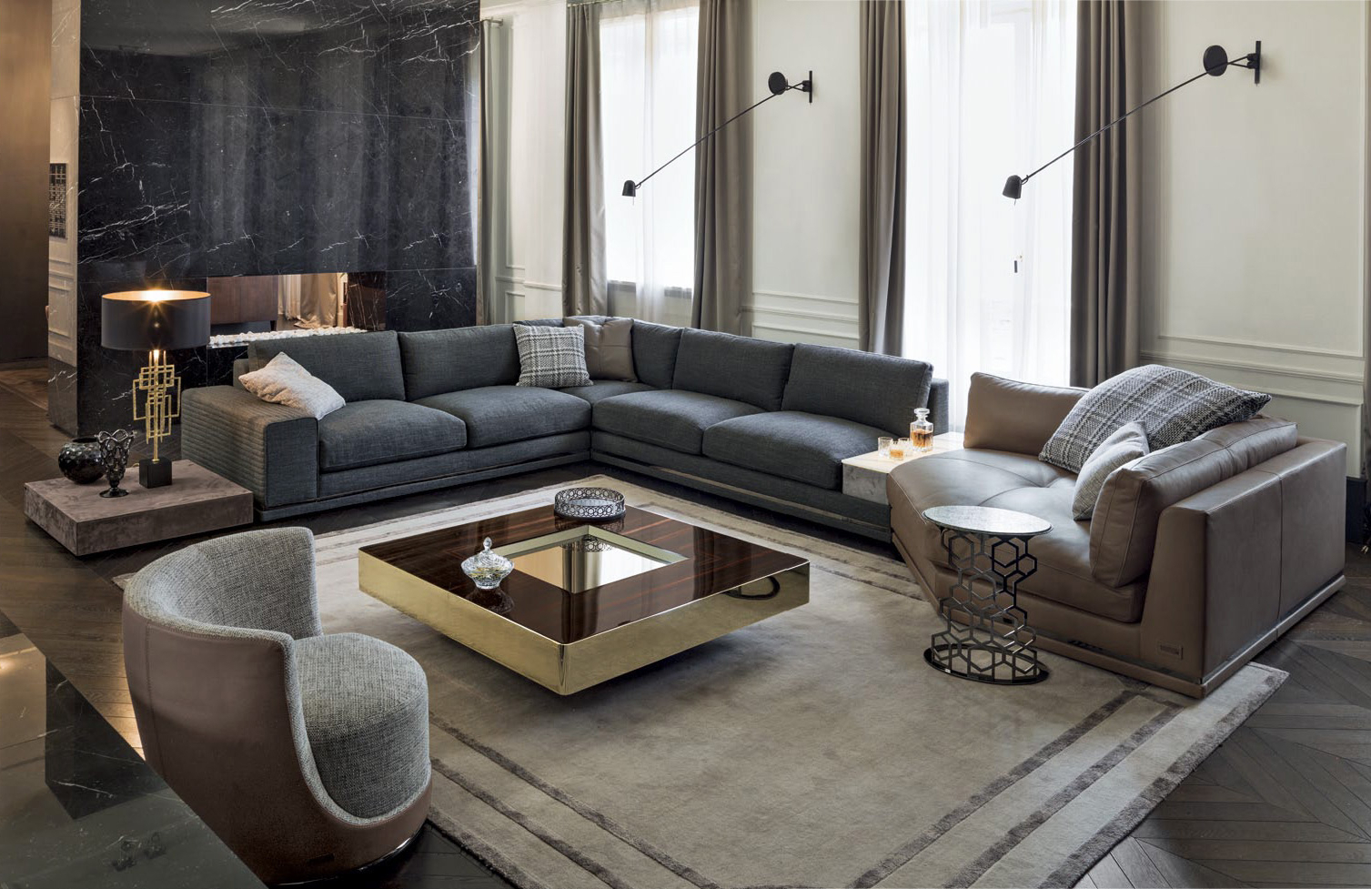 Most Recent Cohen Down 2 Piece Sectionals Inside Luxury Italian Designer Cohen Sectional – Italian Designer & Luxury (View 2 of 20)