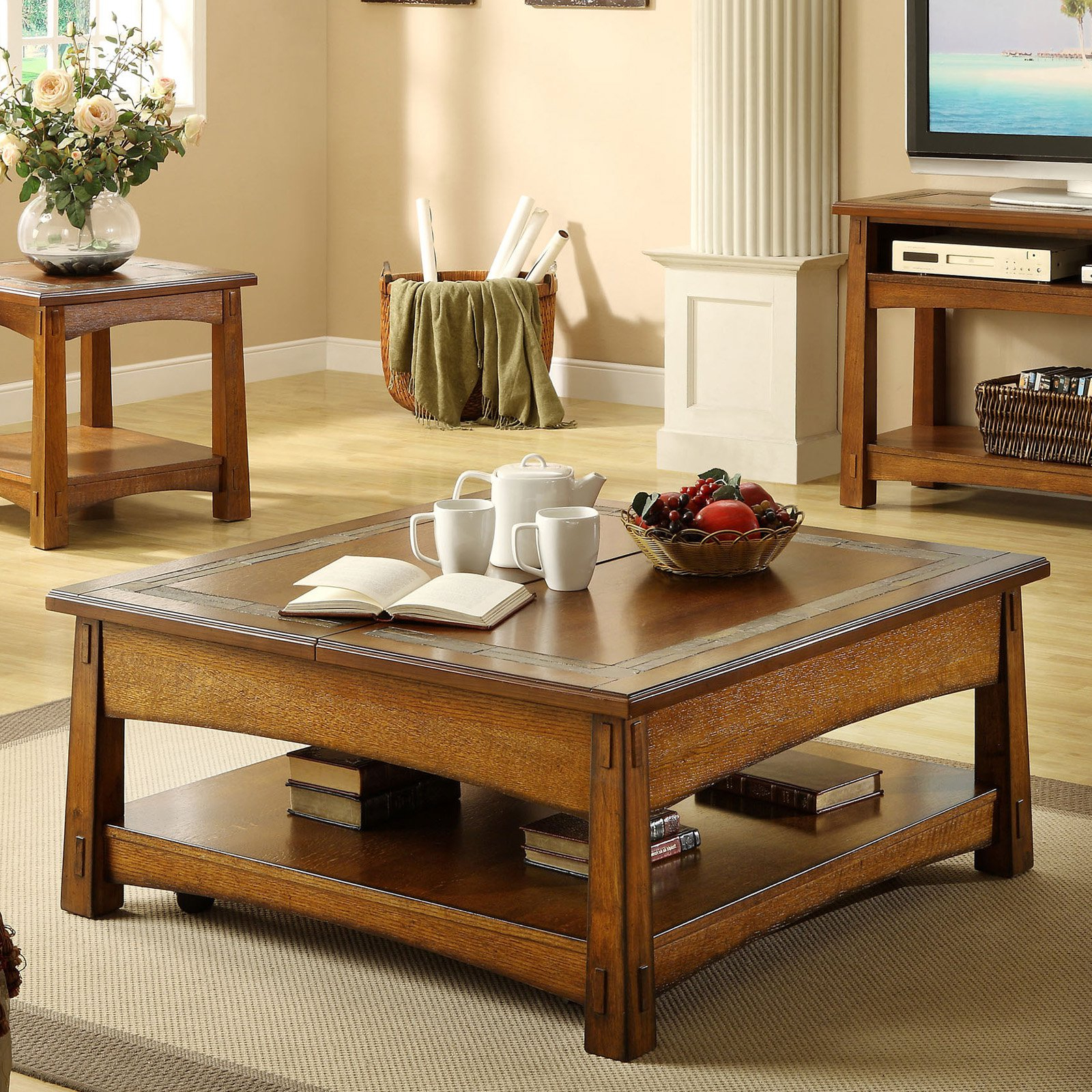 Most Recent Craftsman Cocktail Tables For Riverside Craftsman Home Square Lift Top Cocktail Table – Americana (View 12 of 20)