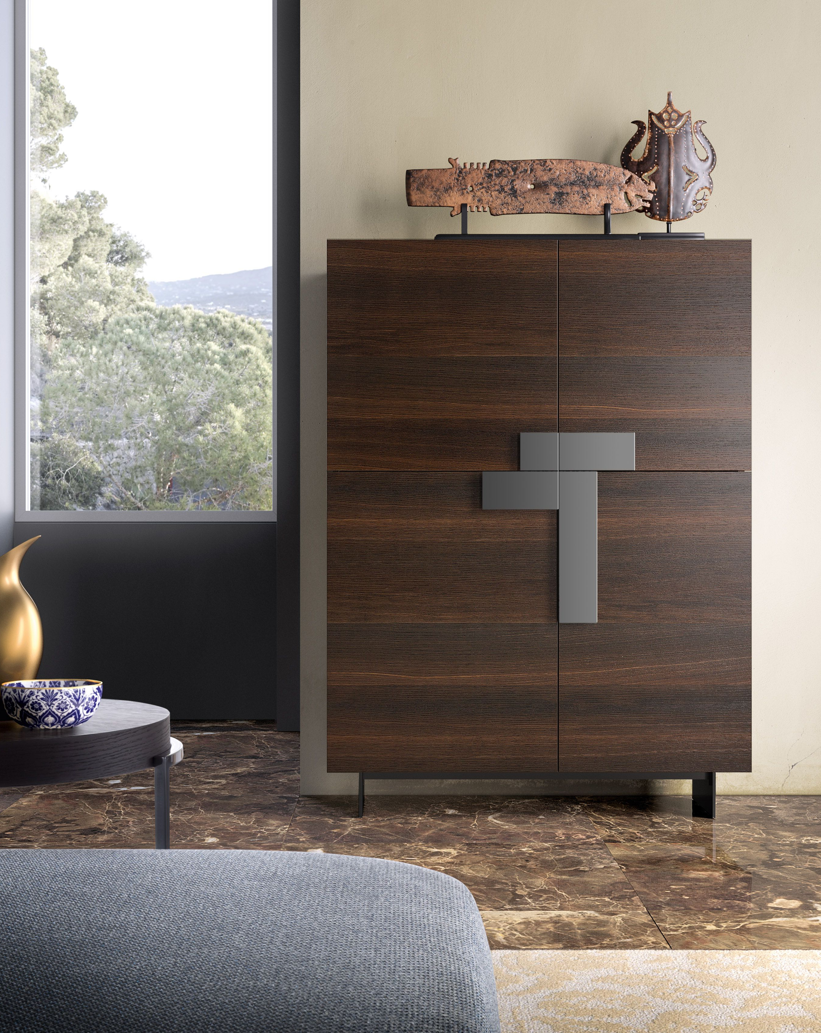 Most Recent Ginevra Sideboard With Burnt Oak Structure And Fronts, Titanium With Regard To Burnt Oak Wood Sideboards (Gallery 2 of 20)