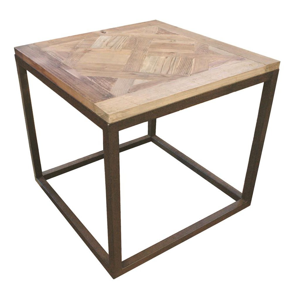 Most Recent Gramercy Modern Rustic Reclaimed Parquet Wood Iron Side Table Regarding Parquet Coffee Tables (View 9 of 20)