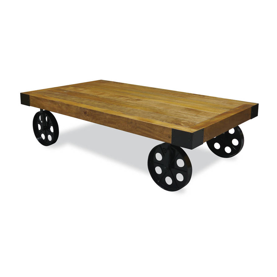 Most Recent Industrial Vintage Coffee Table With Wheelsthe Orchard Furniture Pertaining To Natural Wheel Coffee Tables (Gallery 20 of 20)