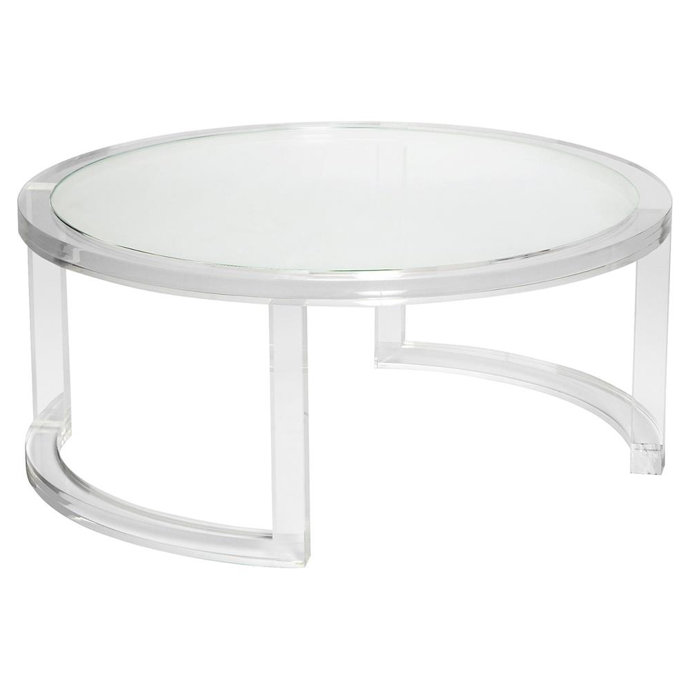 Most Recent Interlude Ava Modern Round Clear Glass Acrylic Coffee Table Intended For Modern Acrylic Coffee Tables (Gallery 5 of 20)