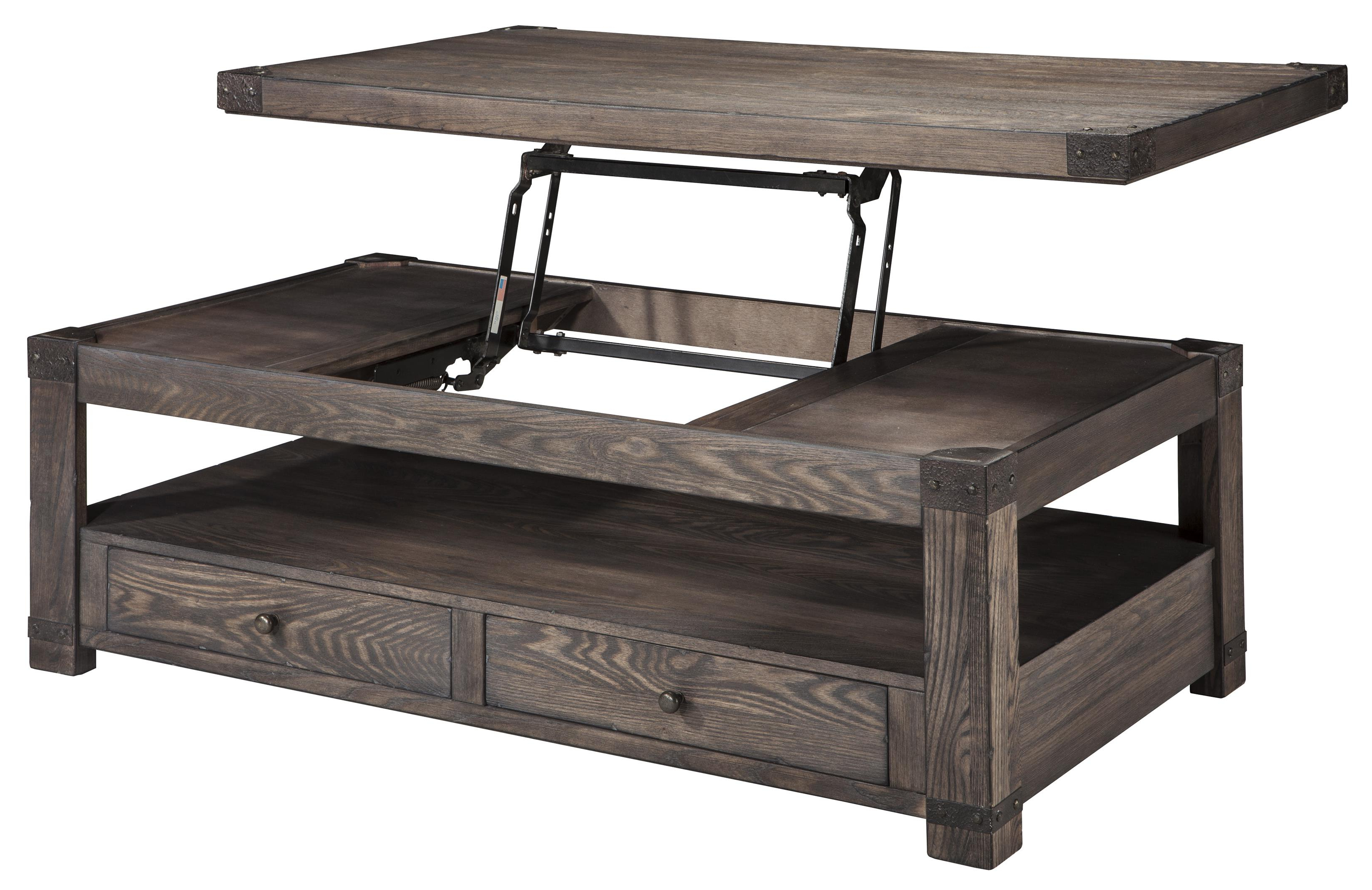 Most Recent Laurent Lift Top Cocktail Tables Inside Elm Veneer Rectangular Lift Top Cocktail Table Grayish Brown (View 12 of 20)
