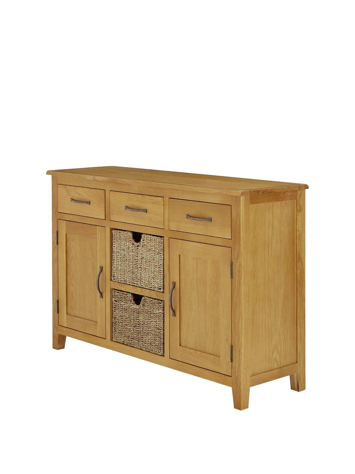 Most Recent Luxe Collection London Seagrass Oak Ready Assembled Large Sideboard In Natural Oak Wood 2 Door Sideboards (View 11 of 20)