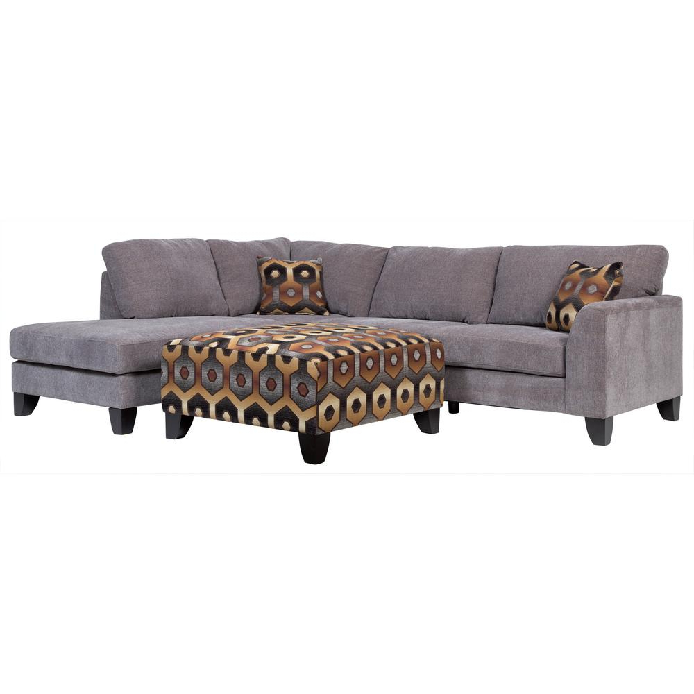 Most Recent Marissa Ii 3 Piece Sectionals With Monza Modern Gray Sectional With Accent Ottoman 01 33C 05 1897K (View 8 of 20)