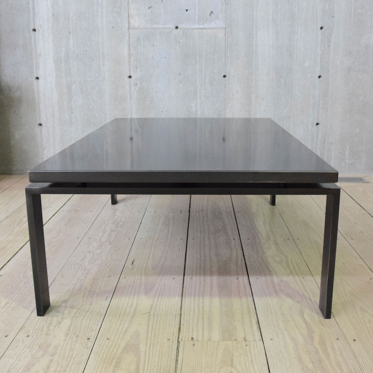 Most Recent Minimalist Coffee Tables Inside Minimalist Steel Coffee Table With Floating Blackened Steel Top – Rt (View 12 of 20)
