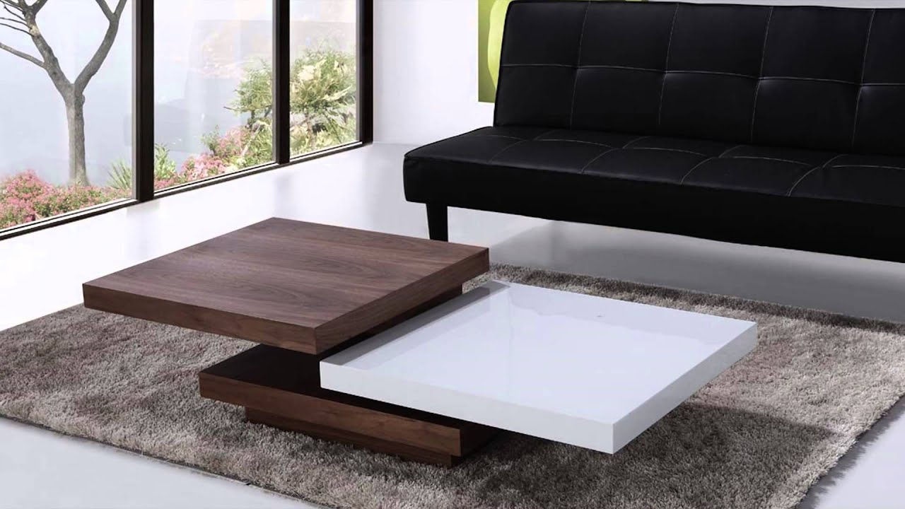 Most Recent Spin Rotating Coffee Tables With Beliani Coffee Table – Swivel Panels – Walnut And White – Aveiro (View 10 of 20)