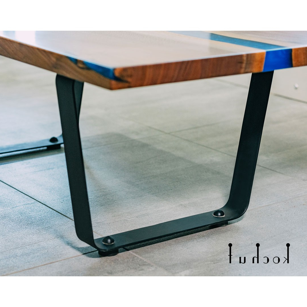 Most Recent Waxed Metal Coffee Tables For Coffee Table «Sky Azure». American Walnut, Epoxy, Wax, Matte Metal Legs (Gallery 3 of 20)