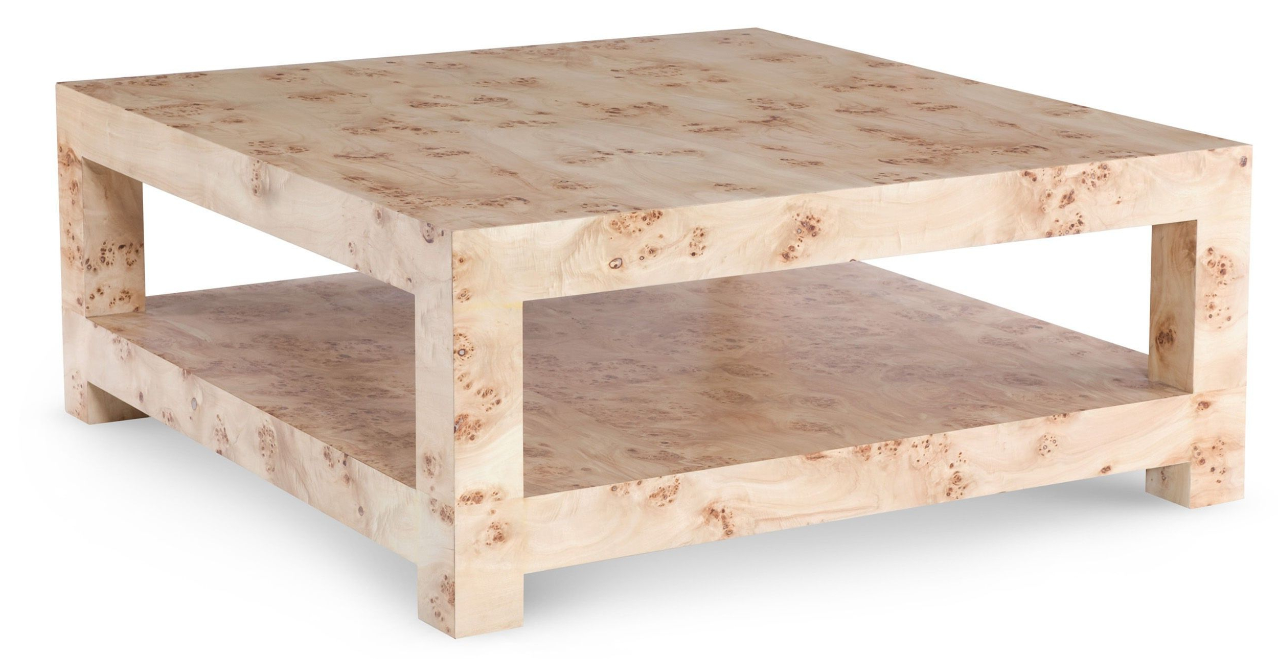 Most Recently Released Alcide Rectangular Marble Coffee Tables Pertaining To Bi Level Square Coffee Table In Mapa Burl Wood Vaneer (View 12 of 20)