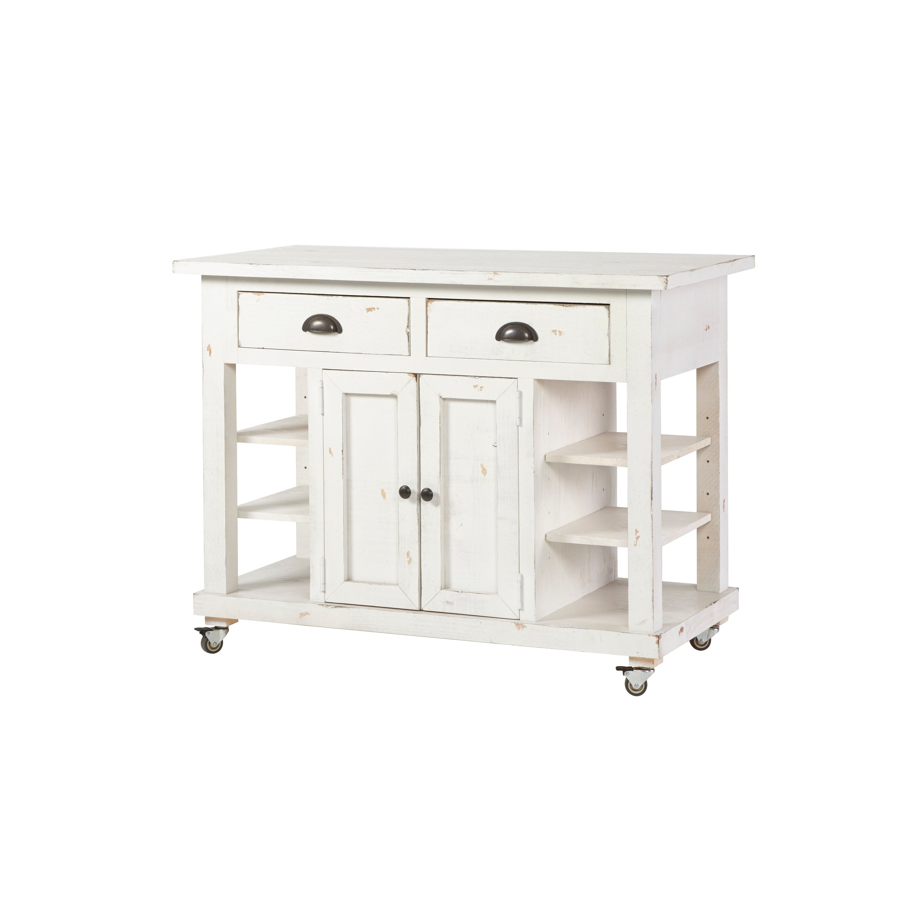 Most Recently Released Antique White Distressed 3 Drawer/2 Door Sideboards With Regard To Shop Progressive Willow Distressed White Wood 2 Drawer 2 Door (View 17 of 20)