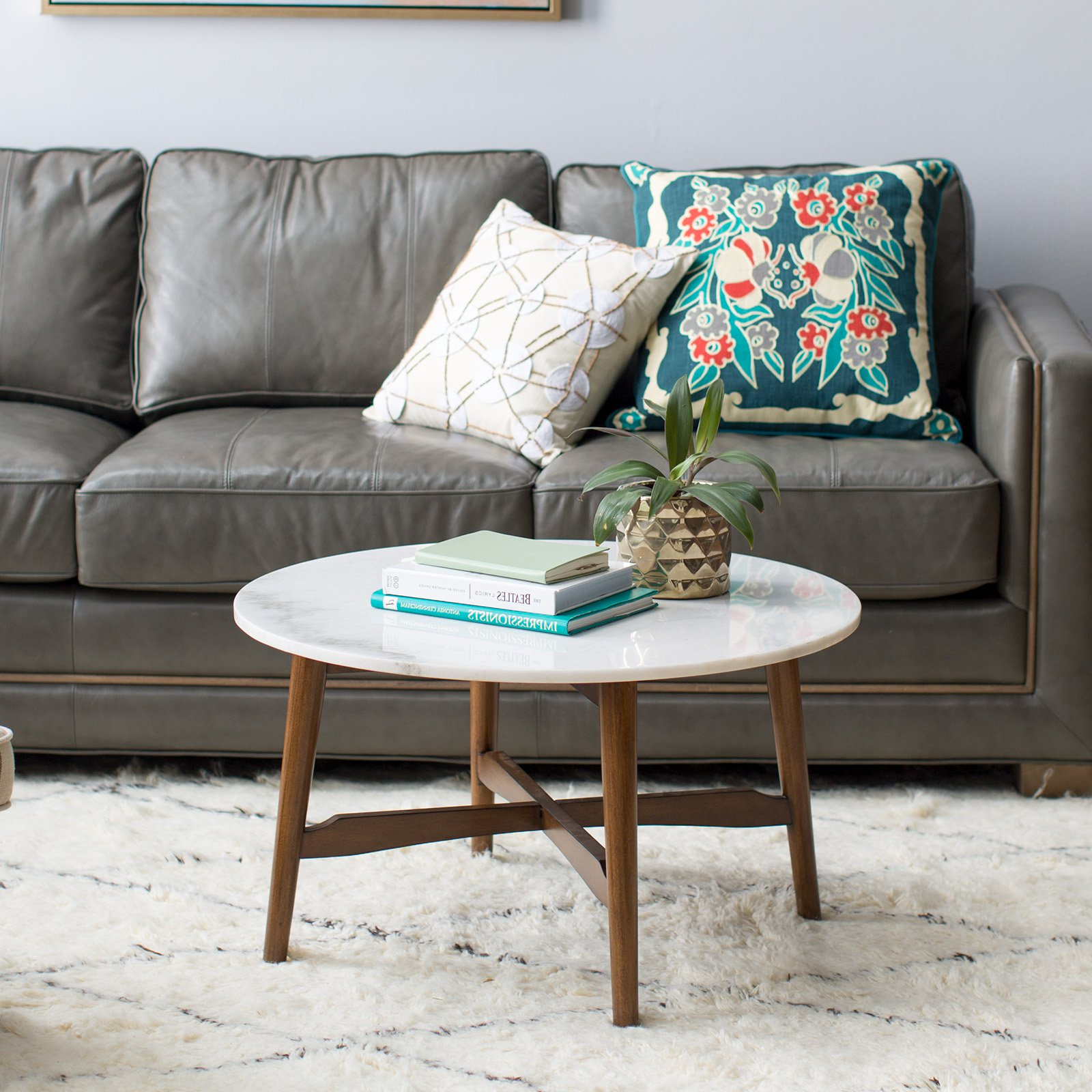 Most Recently Released Belham Living James Round Mid Century Modern Marble Coffee Table Intended For Mid Century Modern Marble Coffee Tables (View 2 of 20)