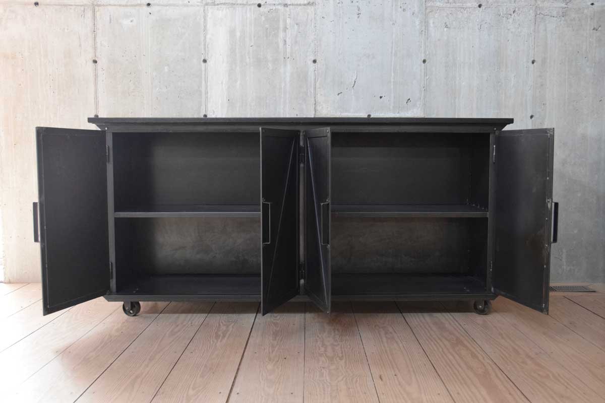 Most Recently Released Black Oak Wood And Wrought Iron Sideboards Regarding Blackened Steel Sideboard With Ebonized Wood Top – Rt Facts (View 17 of 20)