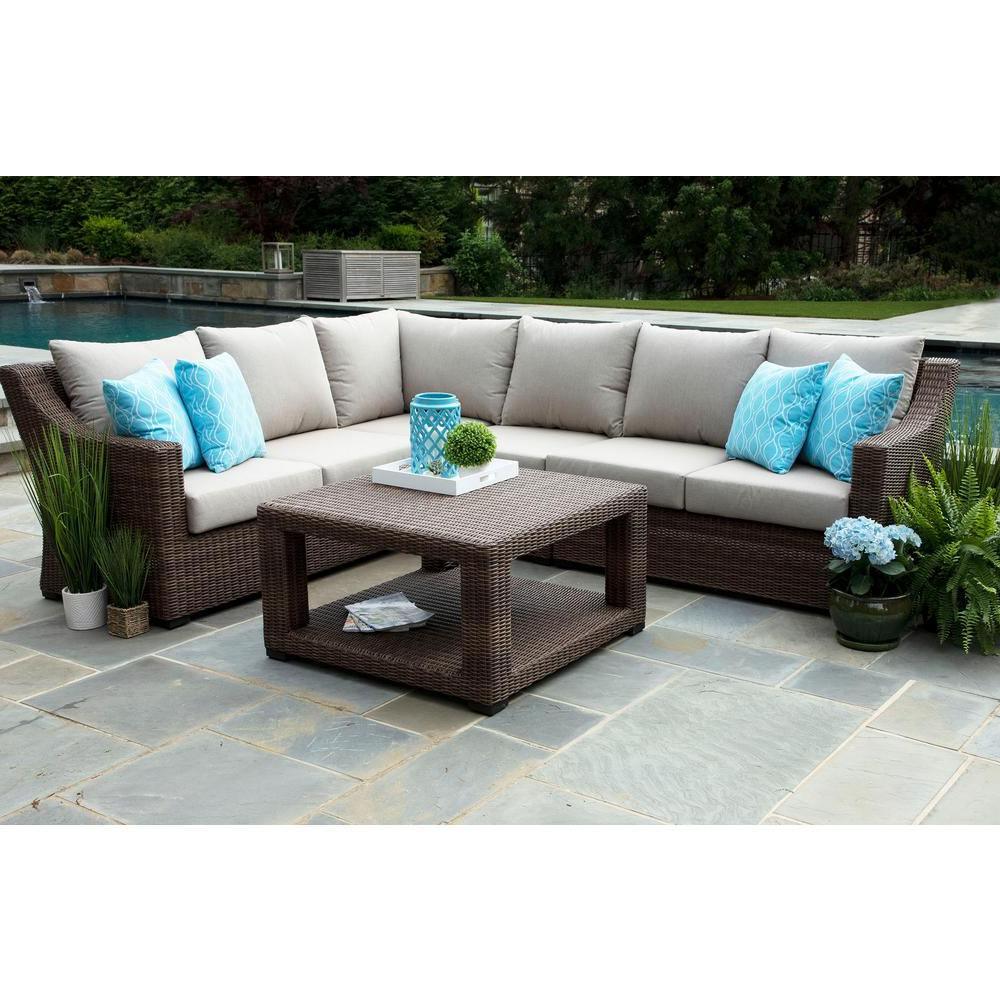 Most Recently Released Canopy Alder 5 Piece Resin Wicker Outdoor Sectional With Sunbrella Pertaining To Alder 4 Piece Sectionals (View 11 of 20)