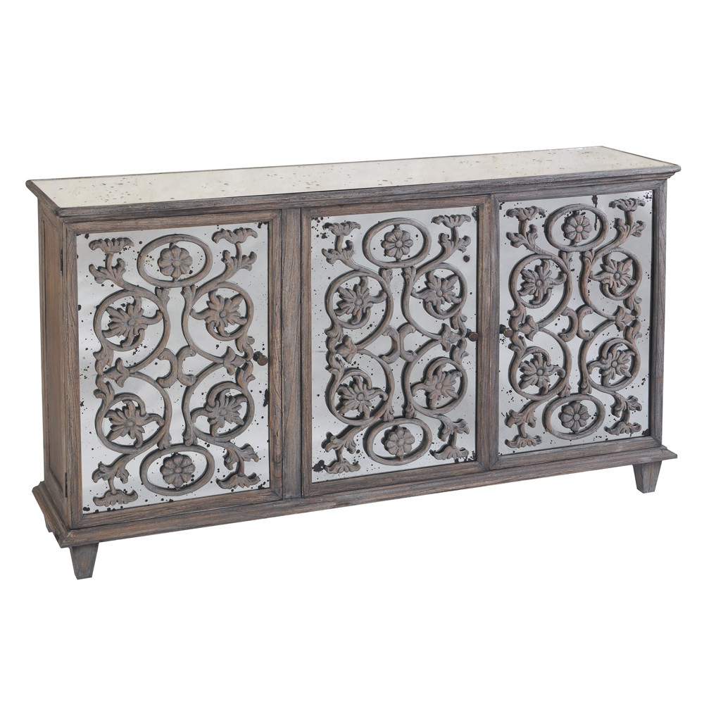 Most Recently Released Dorset Antique Glass Flower Carvings Sideboard – Crown French Furniture Inside Vintage Finish 4 Door Sideboards (View 7 of 20)
