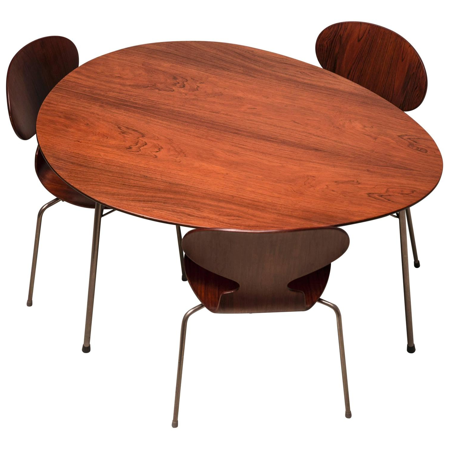 Most Recently Released Exceptional Early Brazilian Rosewood Egg Table And Ant Chairs In Mid Century Modern Egg Tables (View 11 of 20)