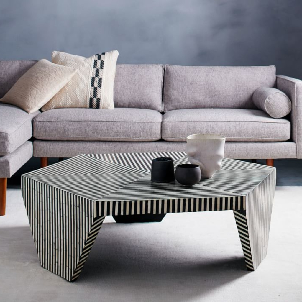 Most Recently Released Geo Faceted Coffee Tables Intended For Design Ideas: Faceted Black And White Coffee Table From West Elm – A (View 10 of 20)