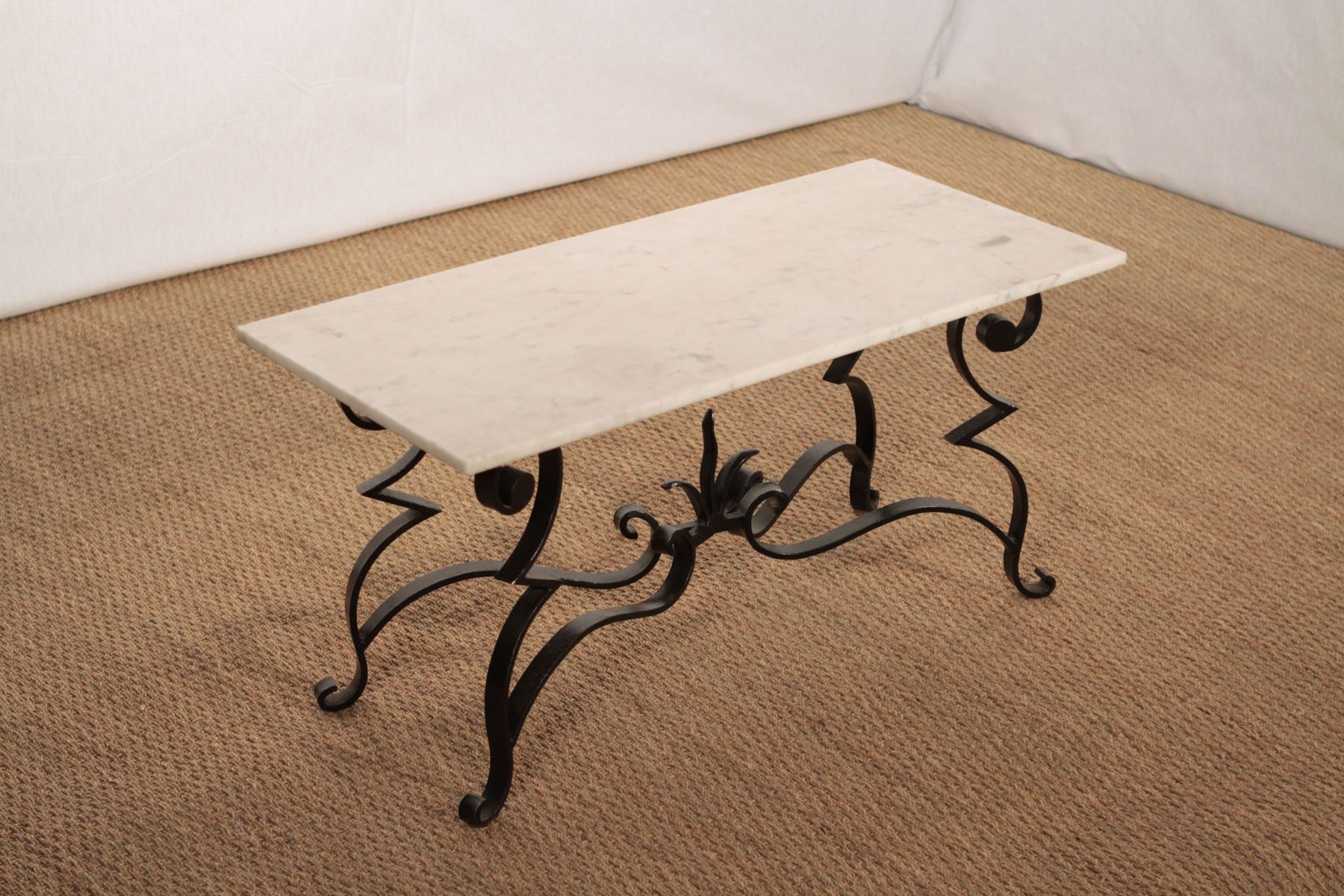 Most Recently Released Iron Marble Coffee Tables Pertaining To Wrought Iron And Marble Coffee Table For Sale At Pamono (View 12 of 20)