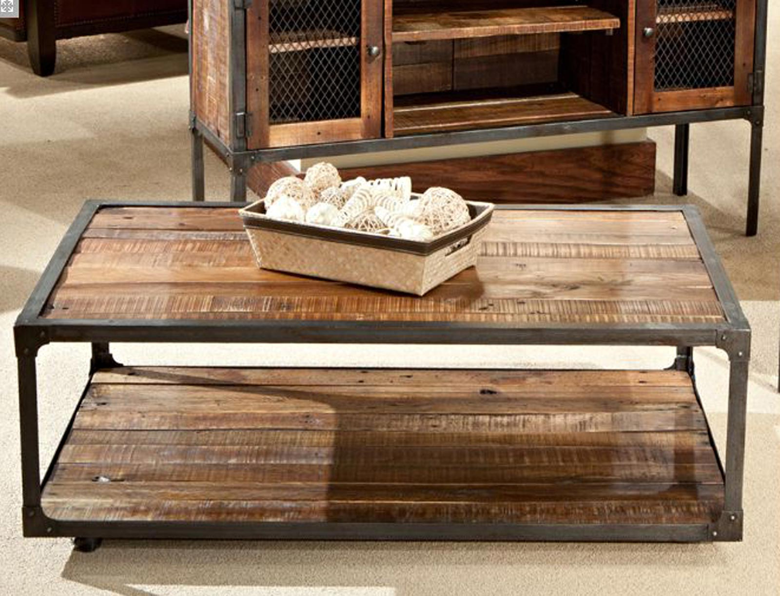 Most Recently Released Iron Wood Coffee Tables With Wheels Pertaining To Wood Metal Coffee Table Elegant Material – Thelightlaughed (View 4 of 20)