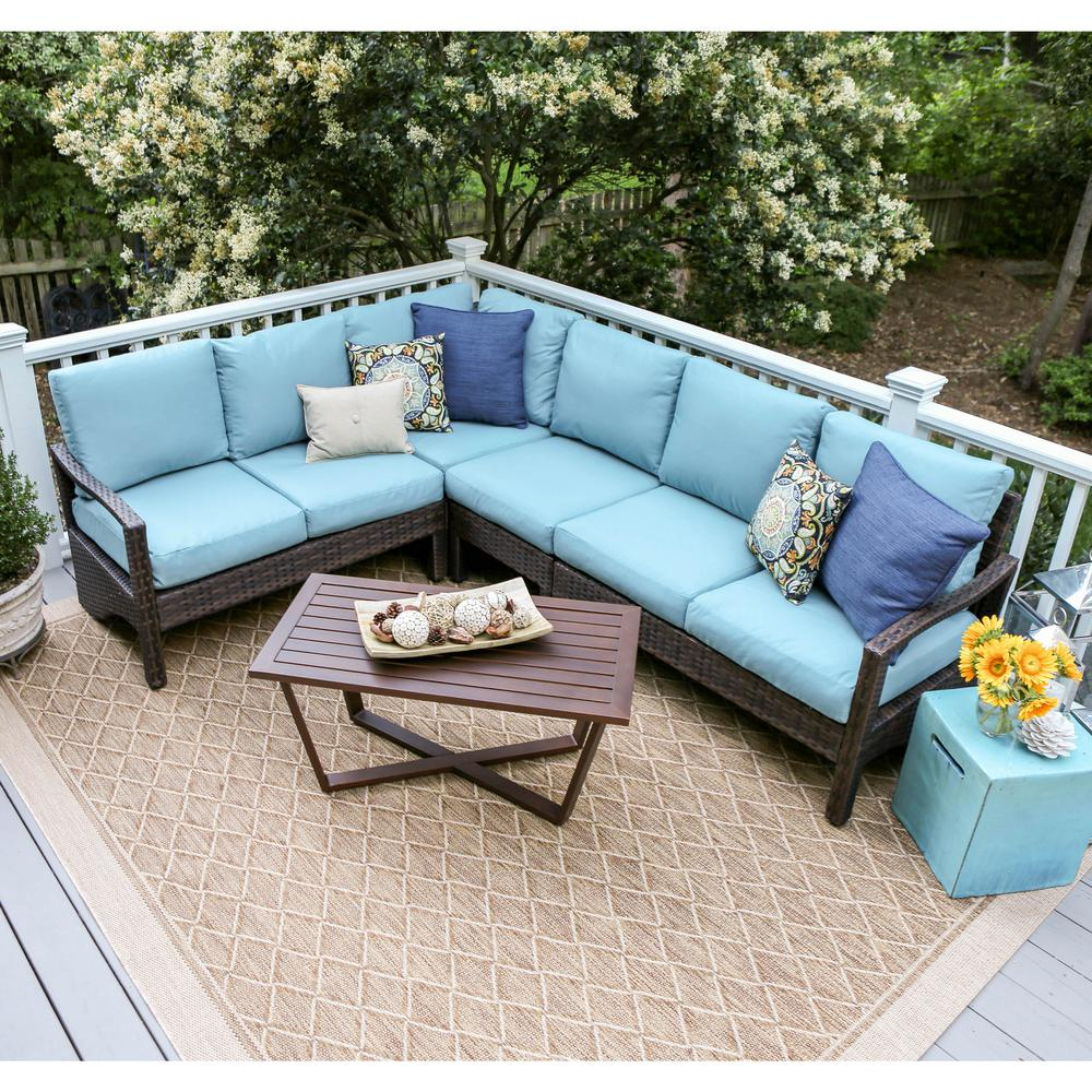 Most Recently Released Leisure Made Augusta 5 Piece Wicker Outdoor Sectional Set With Blue Regarding Haven Blue Steel 3 Piece Sectionals (View 12 of 20)