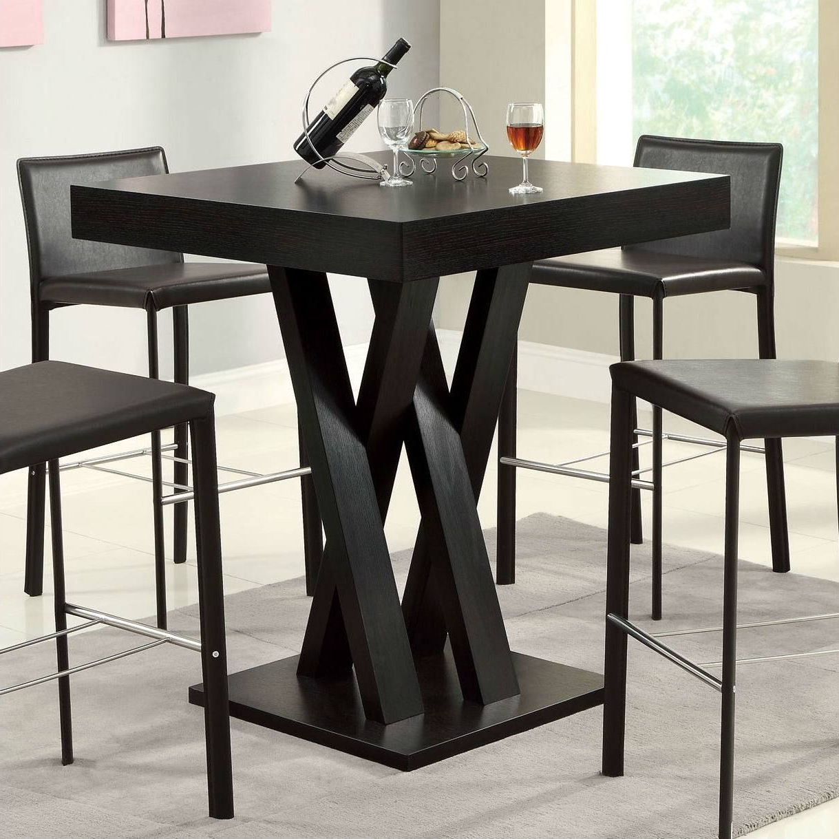 Most Recently Released Modern 40 Inch High Square Dining Table In Dark Cappuccino Finish In Inside 33 Inch Industrial Round Tables (View 12 of 20)