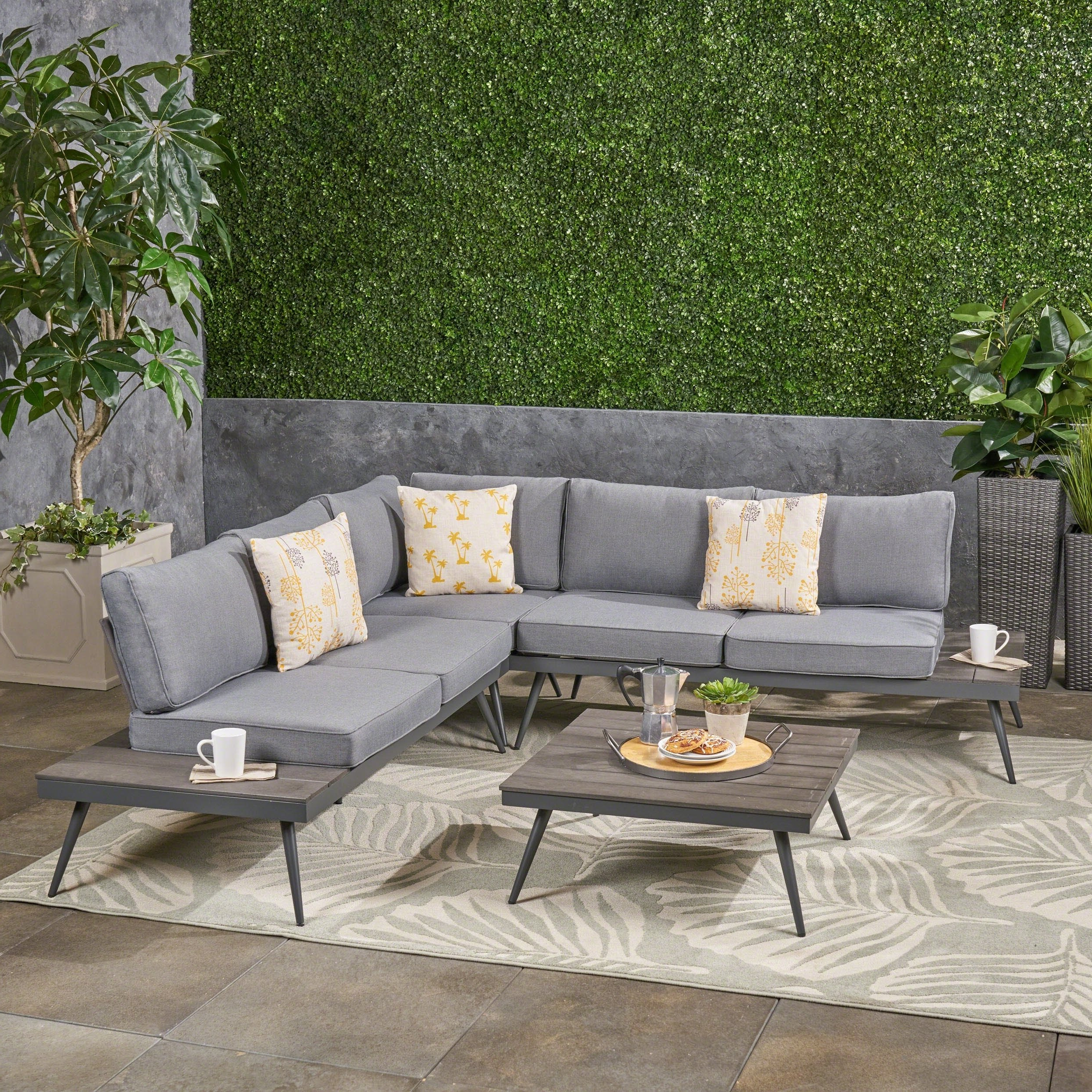 Most Recently Released Norfolk Grey 6 Piece Sectionals With Shop Norfolk Outdoor V Shaped 5 Seater Sofa Setchristopher (View 9 of 20)