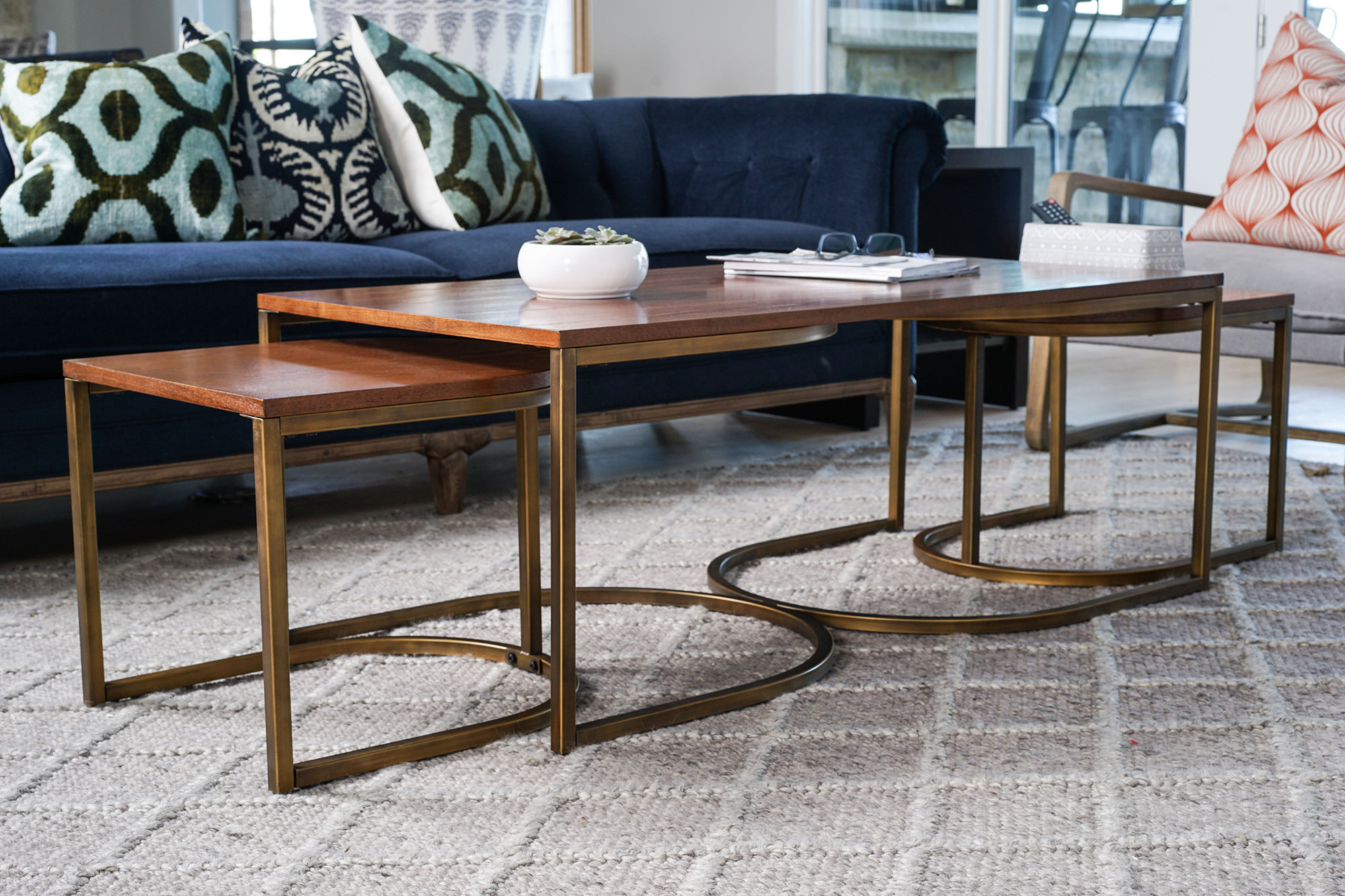 Most Recently Released Set Of Nesting Coffee Tables Pertaining To Wrought Studio Hunedoara Lincoln Nesting 3 Piece Coffee Table Set (View 14 of 20)