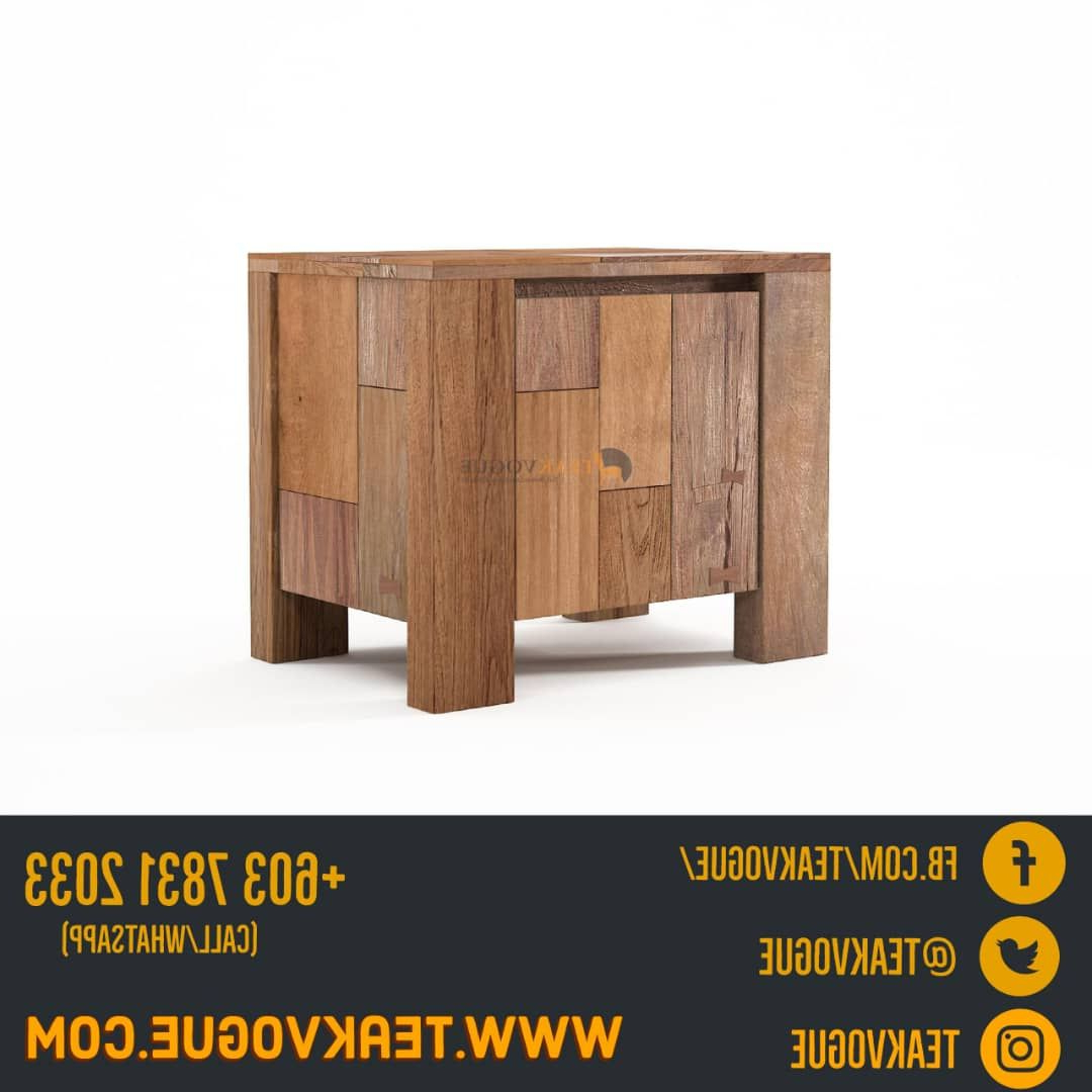 Most Recently Released Shandur Bedside Table With Door – Teak Wood Bedside Table Malaysia Within Leven Wine Sideboards (View 4 of 20)