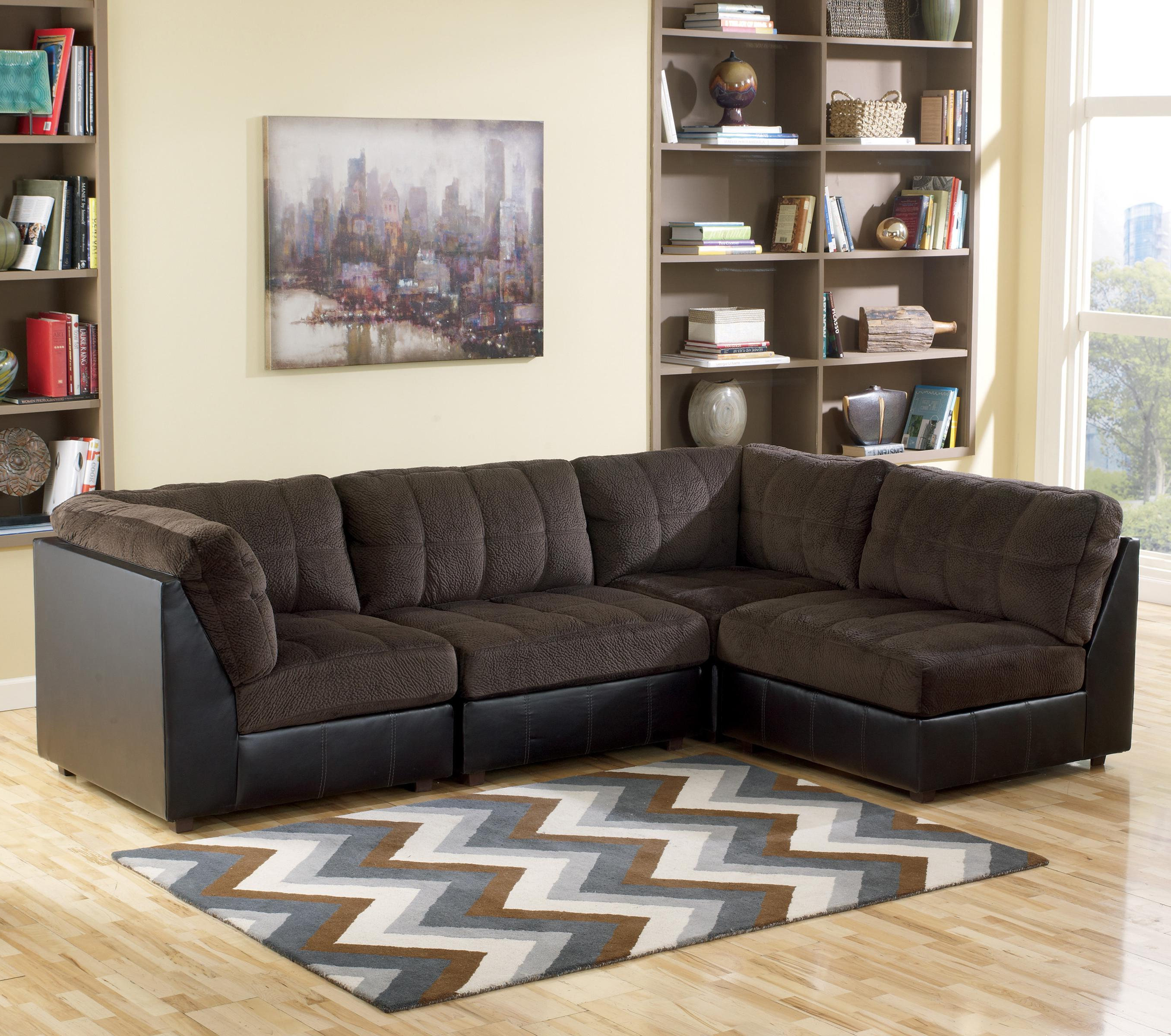 Most Recently Released Signature Designashley Hobokin – Chocolate Contemporary 4 Piece Within Norfolk Chocolate 6 Piece Sectionals With Raf Chaise (View 19 of 20)