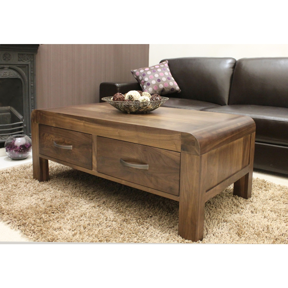 Most Recently Released Walnut 4 Drawer Coffee Tables Inside Shiro Coffee Table Four Drawer Storage Solid Walnut Dark Wood (View 10 of 20)