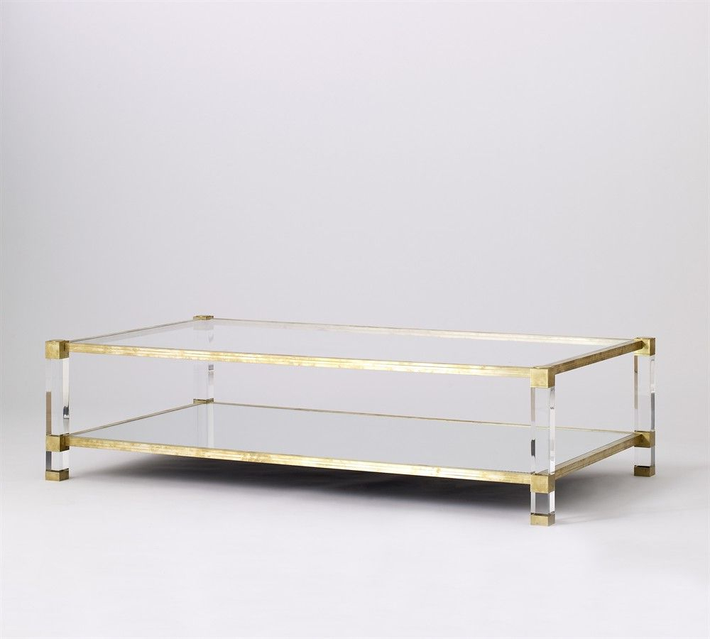 Most Up To Date Acrylic & Brushed Brass Coffee Tables Regarding Coffee Table, Lucite, Brass (View 13 of 20)