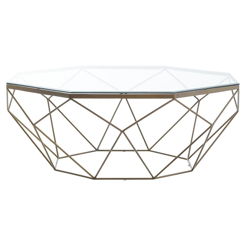 Most Up To Date Antique Brass Coffee Tables Regarding Dixon Geometric Modern Antique Brass Octagonal Coffee Table (View 16 of 20)