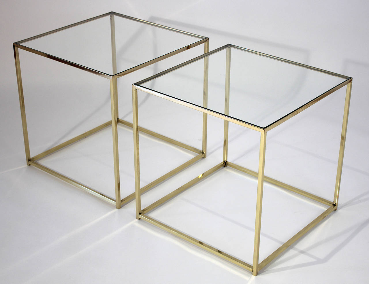 Most Up To Date Brass And Glass Cube Side Tables At 1stdibs Within Brass Iron Cube Tables (View 2 of 20)