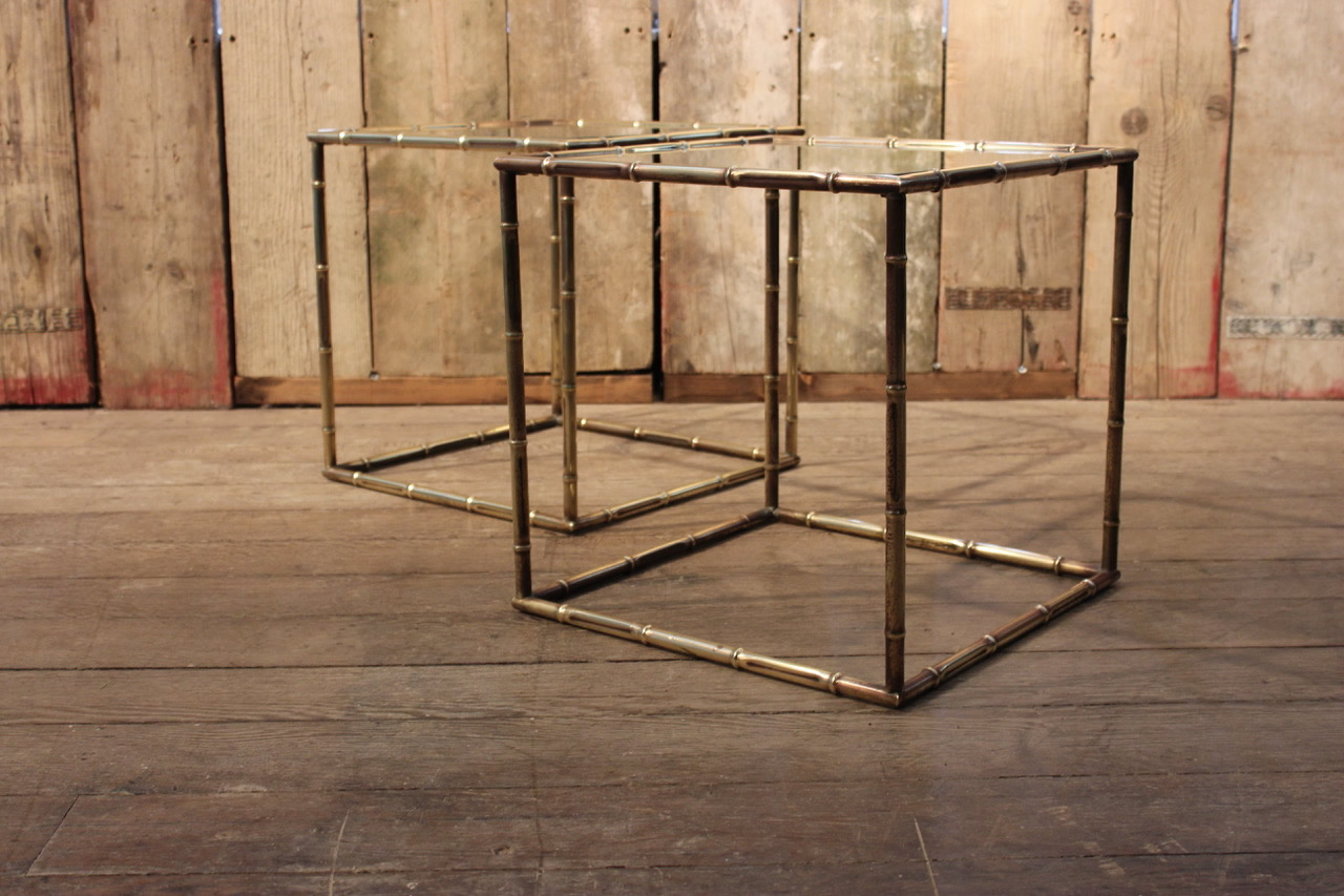 Most Up To Date Brass Iron Cube Tables With Regard To Pair Of 1950s Faux Bamboo Cube Brass Sofa Tables – Occasional Tables (View 12 of 20)