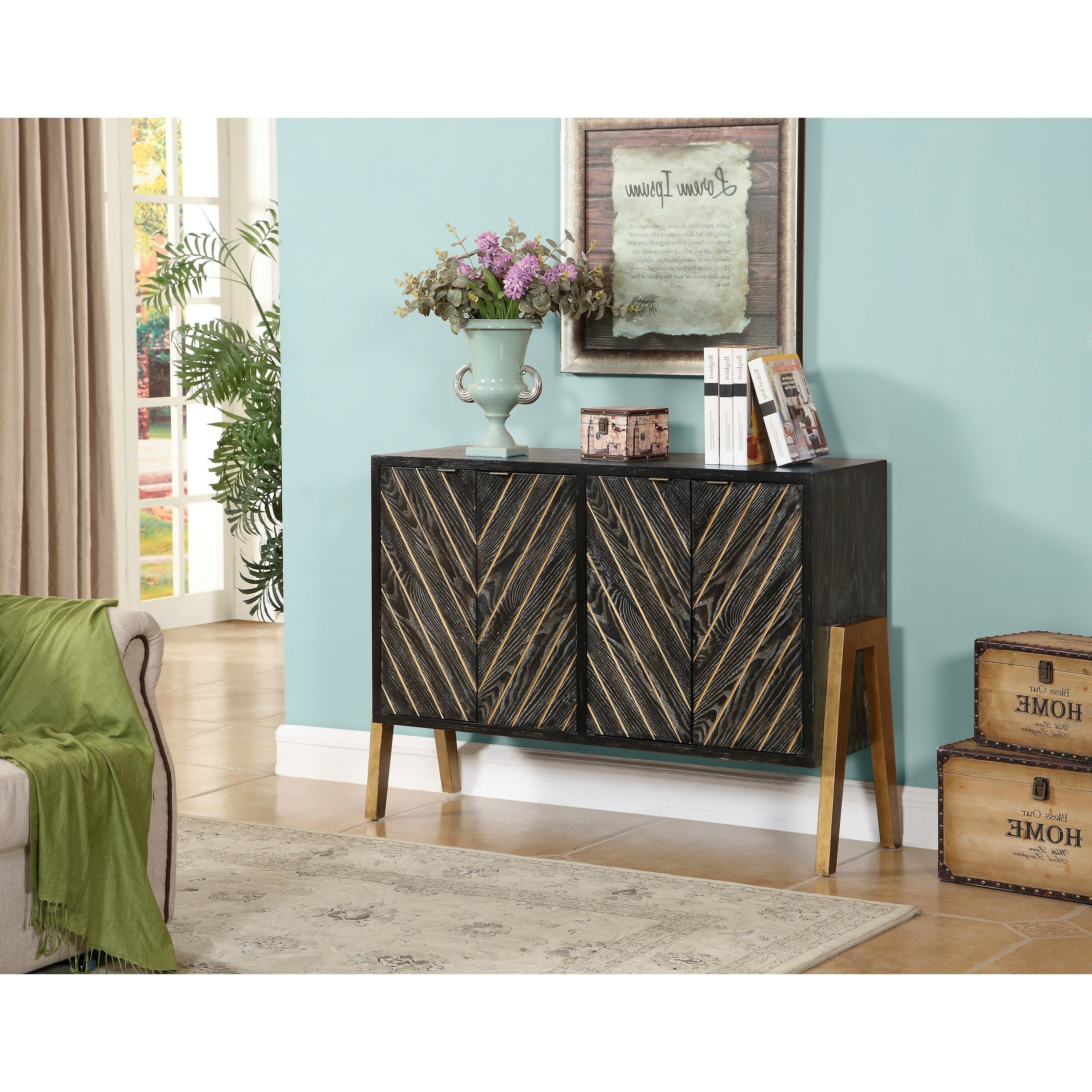 Most Up To Date Brown Chevron 4 Door Sideboards Pertaining To Shop Christopher Knight Home Black And Gold 4 Door Sideboard – Free (View 15 of 20)