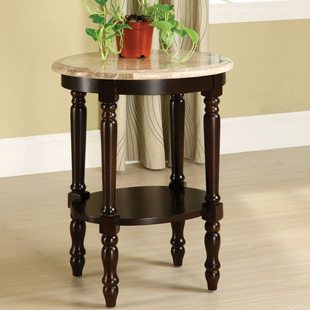 Most Up To Date Casbah Coffee Side Tables Throughout Furniture Of America Arboreta Classic Marble Oval Top Side Table (View 11 of 20)