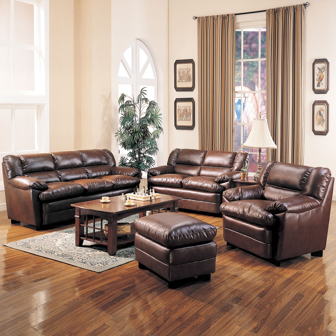 Most Up To Date Cream Living Room Sets: Vintage Living Room Set Up With Dark Brown Pertaining To Declan 3 Piece Power Reclining Sectionals With Right Facing Console Loveseat (View 9 of 20)