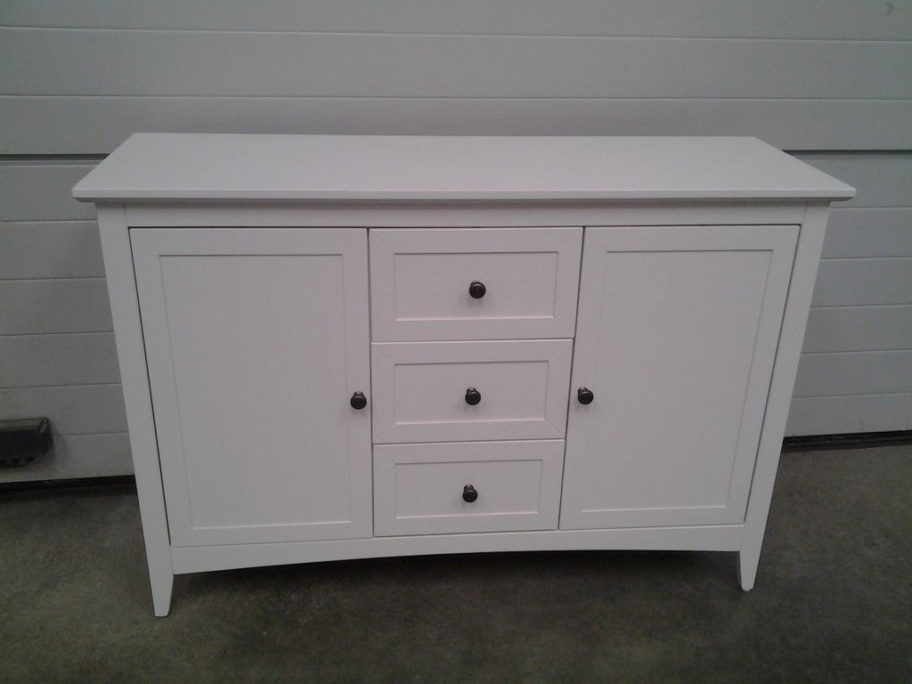 Most Up To Date Ex Display White Solid Wood Sideboard. 3 Drawers 2 Doors (View 14 of 20)