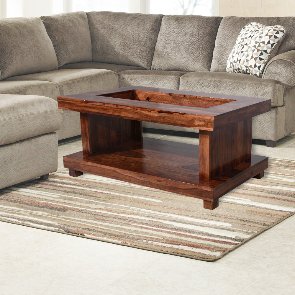Most Up To Date Glass Top Center Table Double Top Inside Naveen Coffee Tables (View 9 of 20)