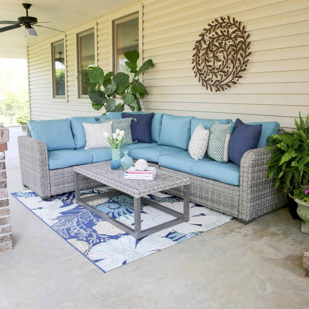 Most Up To Date Haven Blue Steel 3 Piece Sectionals Inside Leisure Made Forsyth 5 Piece Wicker Outdoor Sectional Set With Blue (View 14 of 20)