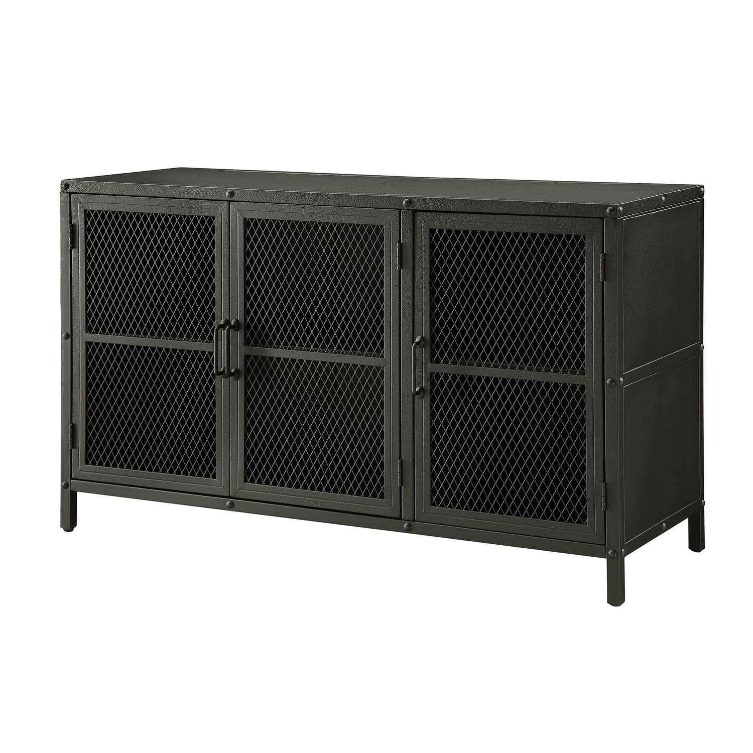 Most Up To Date Industrial Metal Sideboard 3 Doors Storage Accent Cabinet Buffet Pertaining To Industrial 3 Drawer 3 Door Sideboards (View 20 of 20)